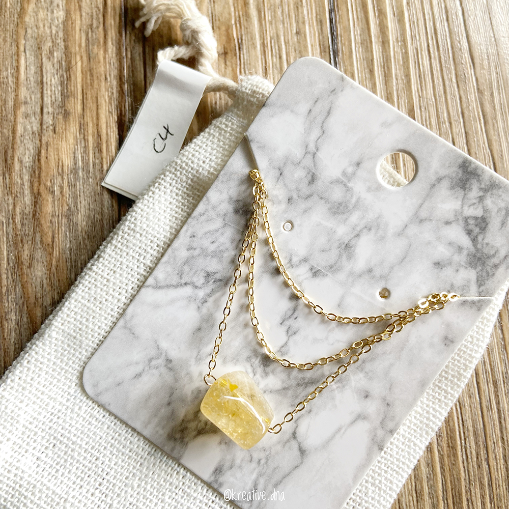 Minimalist 14k Gold Filled Raw Citrine necklace from Kreative.dna - mental health tips, guided meditation, subconscious mind, mindfulness exercises, breathing exercise, breathing exercises for anxiety, planner, organiser