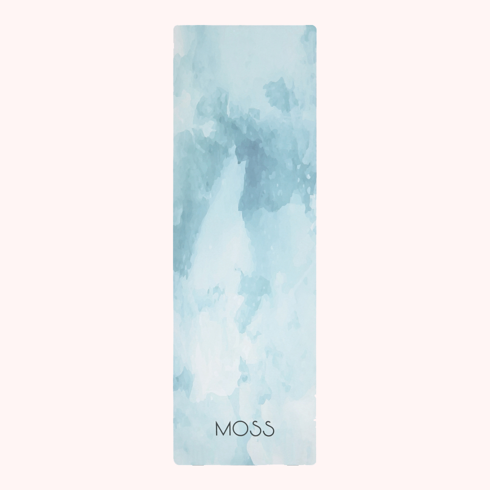 Glacier 2-in-1 yoga mat from Moss - mental health tips, guided meditation, subconscious mind, mindfulness exercises, breathing exercise, breathing exercises for anxiety, planner, organiser